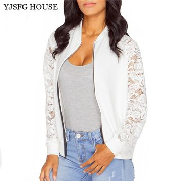 YJSFG HOUSE Lace Patchwork Bomber Jackets Women Hollow Out Long Sleeve Vintage Spring Autumn Cardigans Black White Zipper Coats