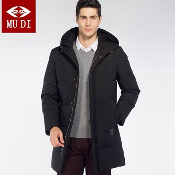 MUDI Brand 2017 Newest Men's %90 White Duck Down Coats Thicker Snow Russia Long Down Coats Plus Size 6XL Parka Anorak Jackets