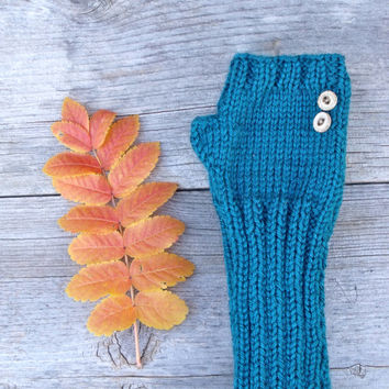 Long Fingerless Gloves in Teal Blue with Coconut Shell Buttons, Women's Fingerless Gloves, Arm Warmers, Blue-Green, Gloves with Buttons,