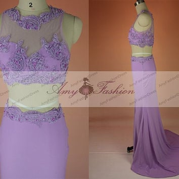 2015 New Custom Made High Side Slit Sexy Long Purple Mermaid Prom Dress Evening Gown Homecoming Crop Top Two Piece Dress Long Jersey Dress