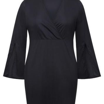 Bell Sleeve Plus Size Black Women's Bodycon Dress