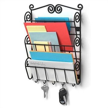 Wall Mounted Letter Holder Mail Sorter in Black Metal w/ Key Hooks