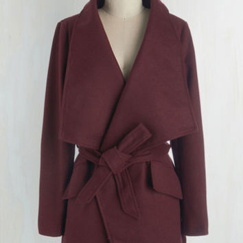 70s Mid-length Long Sleeve Preferred Pairing Coat in Merlot