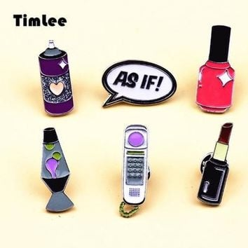 Timlee X248 Cartoon Letter AS IF Phone Lipstick Cute Metal Brooch Pins Button Pins Enamel Pins