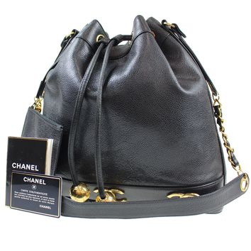 CHANEL CC Drawstring Shoulder Bag Black Caviar Leather Vintage Italy Auth F268 M