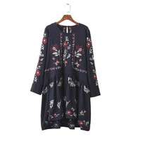 women vintage floral embroidery loose dress