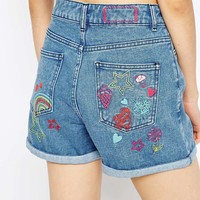 ASOS | ASOS Denim Confetti Embroidered Mom Short at ASOS