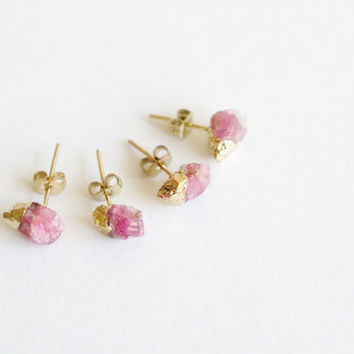 Tiny Red Tourmaline Raw Crystal stud earrings, Dipped Gold raw crystal quartz stone gold earrings, gold post earrings, rough gemstone