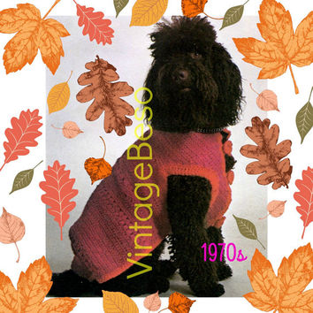 INSTANT DOWNlOAD - PdF Pattern - 1970s Dog Sweater Coat CROCHET Pattern Vintage RARE and HaRD to FiND Pattern for Pampered Girl or Boy Dog