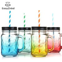 2017 Fruit Mason Jar Bottle Drink Infusion Colored Bar Coffee Water bottl Office Lover beer wine Glass jar with handle glass