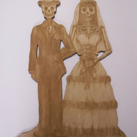 Bride and Groom Sugar Skull Couple, Dia de los Muertos, Calavera, Day of the Dead, Laser Cut Wood Shapes, Ready to Paint Woodcraft