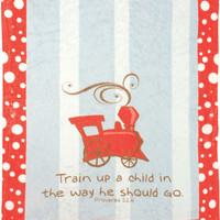 "Manual Woodworkers SATUAC Train Up A Child Mini Fleece 30""x40"" Throw Blanket with Pacifier Clip"