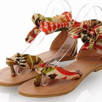 Bohemia Flower Print  Ankle straps Flat  Yellow Sandals