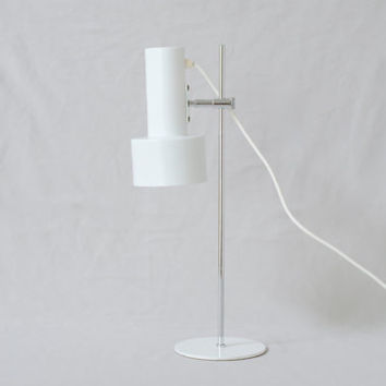 1970s WHITE TABLE LAMP, Height Adjustable, Retro Decor, European Vintage Desk Light, Modern German Desk Lamp, Perfect Working Order