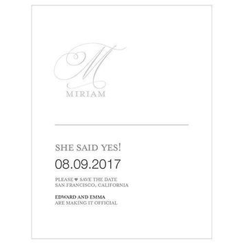 Monogram Simplicity Save The Date Card - Elegant (Pack of 1)