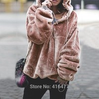 New Fashion Women Winter Warm Hoodie Faux Fur Pullover Sweatshirts Oversize Casual Hooded Hoodies