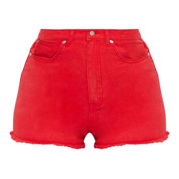 Red Shelby High Waisted Denim Short