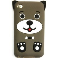 Bukit Cell Bundle: Apple Ipod Touch 4 4g 4th Generation Dark Brown Dog Puppy Silicone Case + Screen Protector + Lint Cleaning Cloth + Metallic touch Stylus PEN