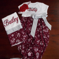 Texas A&M Baby Gown and Burp Cloth Set