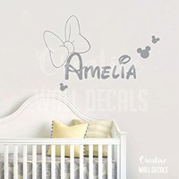 Vinyl Wall Decal Sticker Minnie Mouse Kids Nursery Disney Custom Name r1887