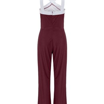 Streetstyle  Casual V-Neck Color Block Straight Jumpsuit