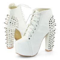 Womens Spike Studded Goth Punk Rock Platform High Heel Shoes Lace Up Ankle Boots