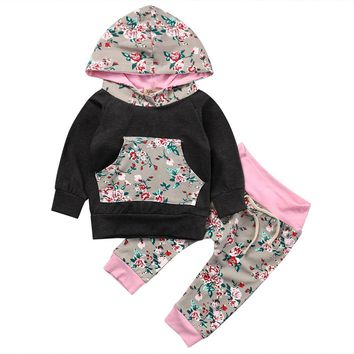 2pcs girls boys clothes set Toddler Infant Baby Boy Girl Clothes Set Floral Hoodie Tops+Pants Outfits ping