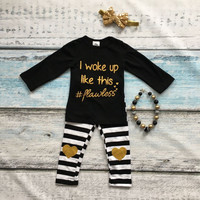 baby girls Fall clothing girls I woke up like this clothes children boutique outfits stripe pants with necklace and headband