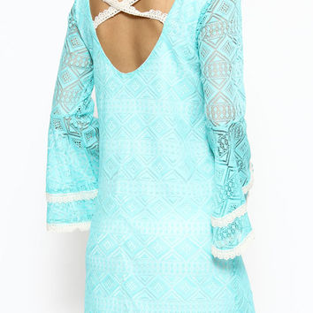 DIAMOND PATTERN LACE AND CROCHET STRAP CROSS BACK DETAILS DRESS