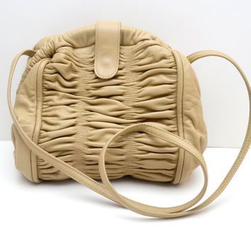 Vintage Ruched Leather Purse, Oyster Color, Made in Italy for Neiman Marcus, Perfect Spring Handbag, 1980s