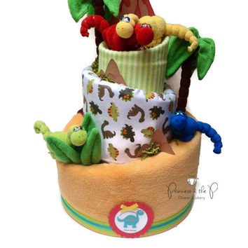3 tier, Dinosaur baby shower, Topsy Turvy Diaper Cake, Baby Shower,  Centerpiece, dinosaur party, Nursery Decor, prehistoric, jurassic