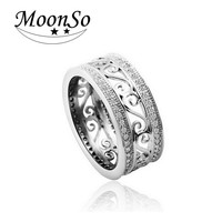 Real 925 sterling silver ring Vintage retro rose gold band Ring for women men jewelry Engagement Wedding finger design T0879