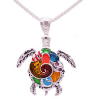 Fashion Animal Turtle Necklace & Pendants Bright Colors Enamel Tortoise Multi Necklace Women Sea Jewelry Anime Christmas Gifts