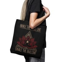 "INHALE THE GOOD SHIT * Lotus Mandala Buddha * Unique Attractive Yoga Gift * Black Tote Bag 18""X18"""