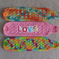 Mug Cozies: smaller crochet multi-mix colors, pink love (choose 1)