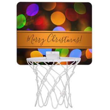 Multicolored Christmas lights. Add text or name. Mini Basketball Backboard
