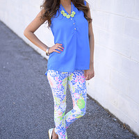Weave Me Out Top, Blue
