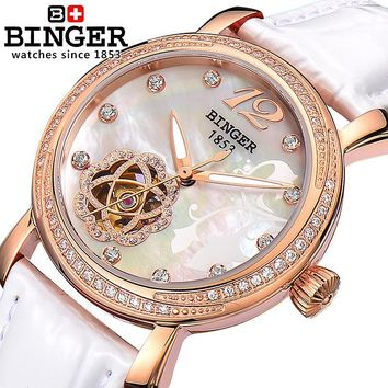 Switzerland Binger Women's watches fashion luxury clock leather strap automatic winding mechanical Wristwatches B-1132L-2
