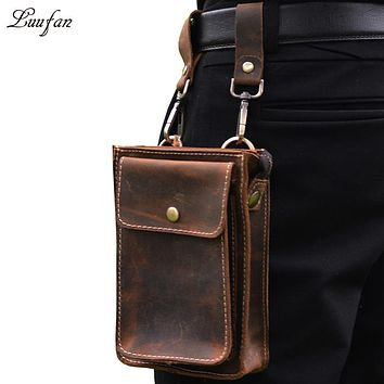 Men's genuine leather bag Genuine leather waist bag with phone and wallet pocket crazy horse leather waist packs