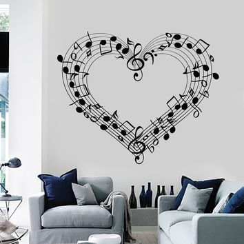 Wall Decal Sheet Music Love Coolest Room Decor Vinyl Stickers Art Mural (ig2583)