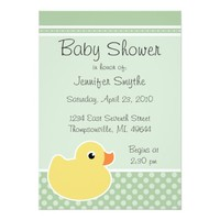 Rubber Ducky Mint Baby Shower Invitations