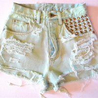 Pastel Green/Studded & Destroyed/ High Waisted by RomaniRose