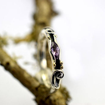 Amethyst ring sterling silver stone stacking ring handmade petite ring purple gemstone ring size 7.5 February birthstone amethyst jewelry