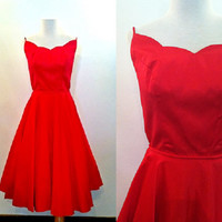 Red Party Dress   Vintage Strappy Full Skirt Cocktail Dress   1960s Red Party Dress