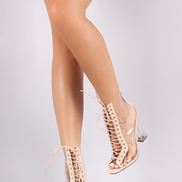 Liliana Lucite Lace Up Chunky Heeled Ankle Boots
