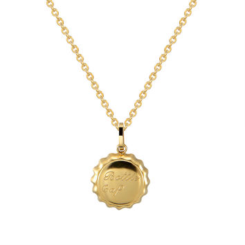 "Bottle Cap Dainty Pendant Choker Chain 18k Gold Finish 18"" Necklace Stainless Steel"
