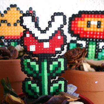 Super Mario Bros/World Potted Plants Fire Flower by BeadxBead