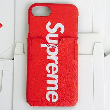 LV & Supreme joint tide brand men and women mobile phone case protective cover F-AL-BSYHD Red