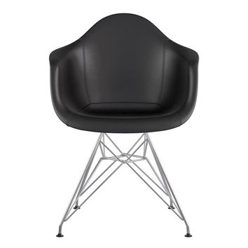 Mid Century Eiffel Arm Chair Milano Black