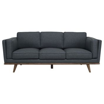 "Modern Scandinavian Space Blue ""Civic"" 3 Seater Sofa with Slanted Oak Legs"